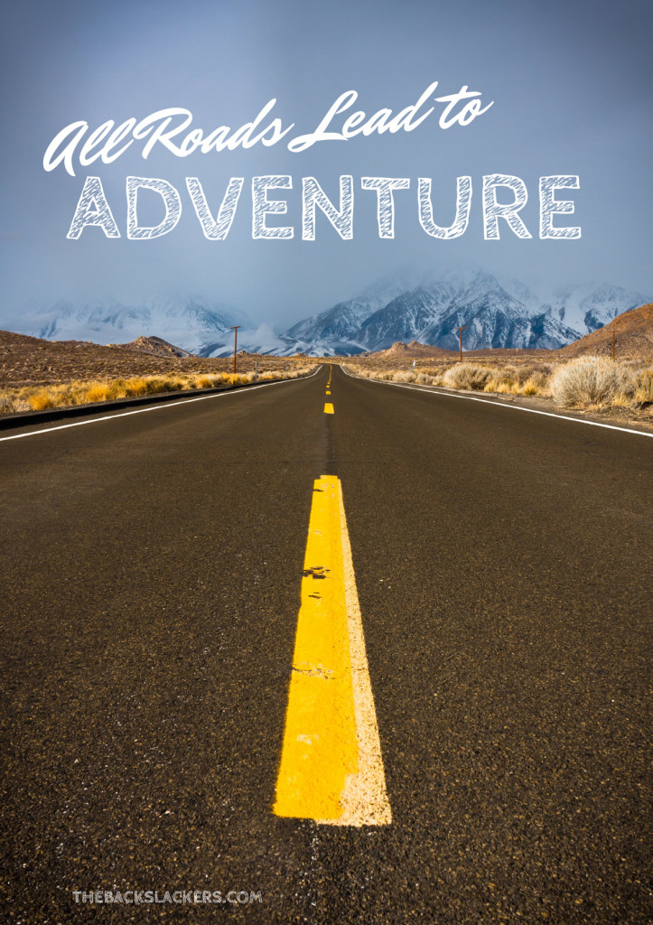 Inspirational Travel Poster - All Roads Lead to Adventure