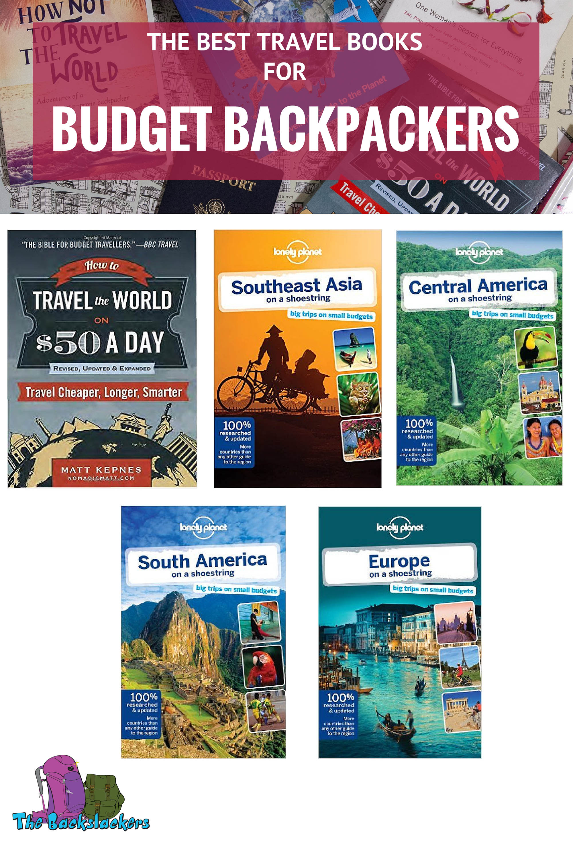 Best Travel Books for Budget Backpackers featuring Nomadic Matt's How To Travel The World on $50 a Day, Lonely Planet's Southeast Asia on a Shoestring, Lonely Planet's Central America on a Shoestring, Lonely Planet's South America on a Shoestring, and Lonely Planet's Europe on a Shoestring.