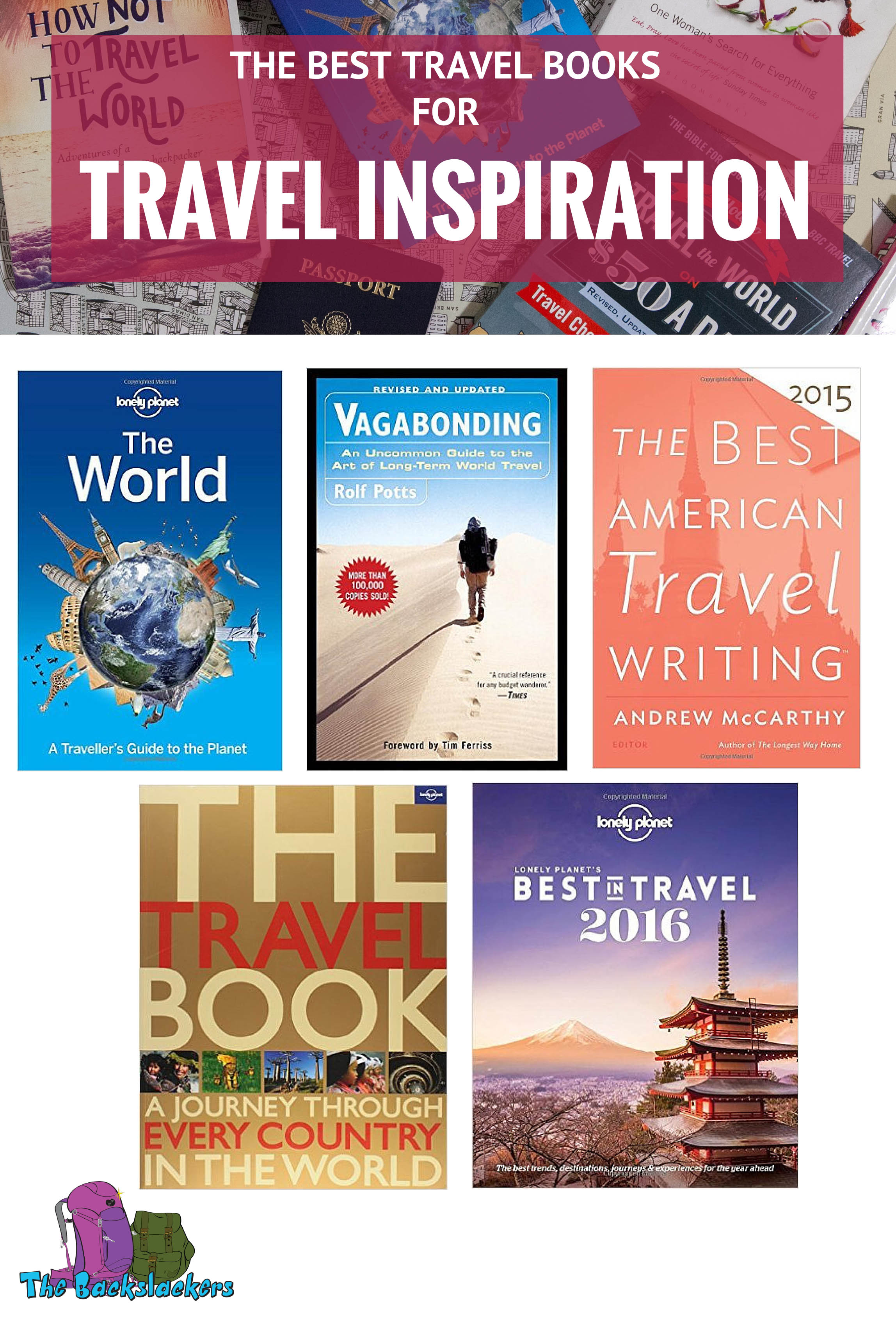 Best Travel Books for Travel Inspiration featuring Lonely Planet's The World, Vagabonding, The Best American Travel Writing, The Travel Book, and Lonely Planet's Best of Travel 2016.