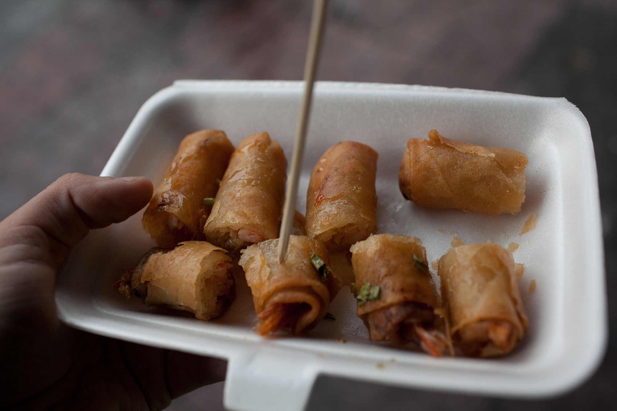 5 Best Meals to Have in Thailand - Street Spring Rolls on Khao San Road in Bangkok, Thailand
